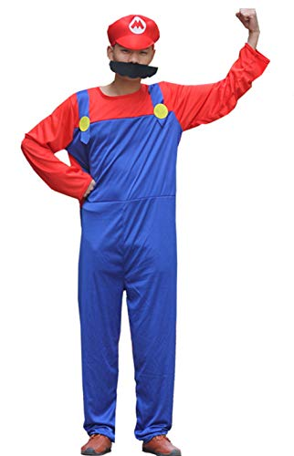 Super Maryo Jumpsuits Luigii Halloween Cosplay Costumes for Adult Kids ()