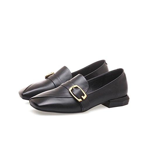 Zapatos Manera Decorativa Cuadrado Cómodo ZFNYY de Ocasionales con Metal los Plano la del tqwxOIRxS0