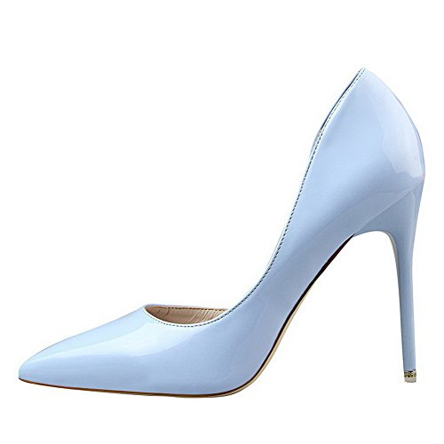 AalarDom Womens Spikes-Stilettos Pointed-Toe Pull-On Solid Pumps-Shoes Skyblue-patent Leather Huv9UBAunE