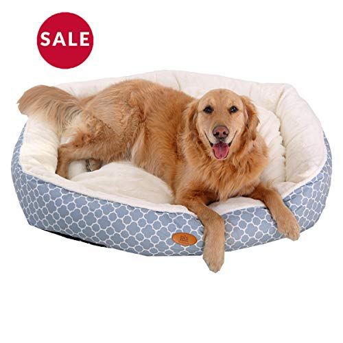 PLS Birdsong Trellis Circular Extra Large Dog Bed, Pet Bed, Cat Bed, Blue, Extra Large, Removable Cover, Completely Washable, Dog beds for Extra Large Dogs For Sale