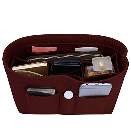 Felt Insert Bag Organizer Bag In Bag For Handbag Purse Organizer, Six Color Three Size Medium Large X-Large (Large, Wine Red)