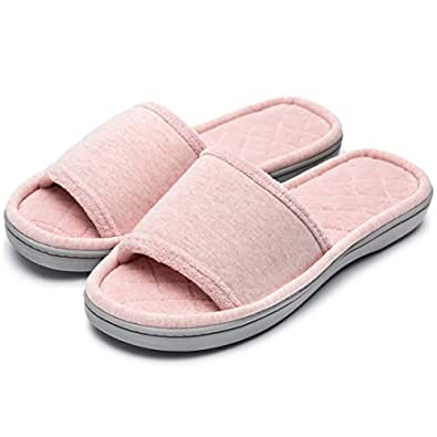 Women's Comfy Memory Foam Plush Fleece Lined Spa House Slippers with Quilted Cotton Upper Pink Size: 7-8