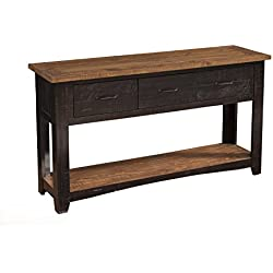 Martin Svensson Home 890145 Rustic Sofa Table, Antique Black and Honey Tobacco