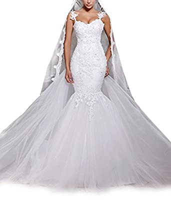 Favors Women's Long Mermaid Wedding Dress Lace Tulle Bridal Gown HS71