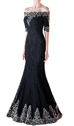 Butmoon Women's Off Shoulder Lace Mermaid Long Prom Party Dresses