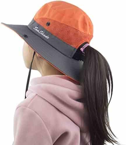 8e44aeeac021e3 Muryobao Kids Girls Ponytail Summer Sun Hat Wide Brim UV Protection Bucket  Cap