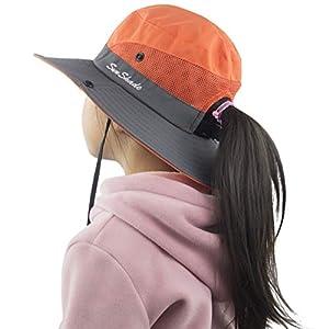 Muryobao Kids Girls Ponytail Summer Sun Hat Wide Brim UV Protection Bucket Cap
