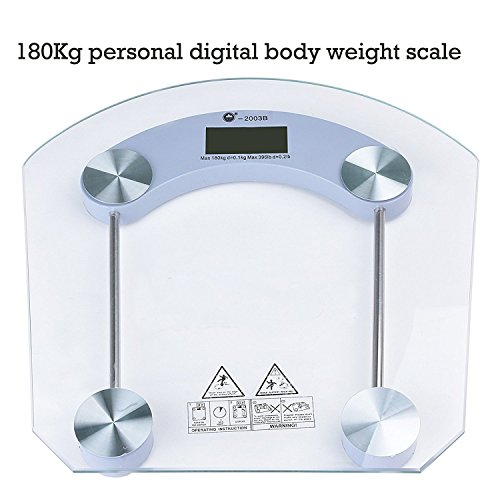 Leoneva Digital Body Weight Home Bathroom Scale with Tempered LCD Glass High Precision Balance Platform and Advanced Step-On Technology 400 Pounds Scales(US Stock)
