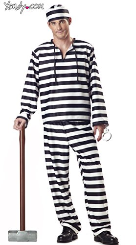 (California Costumes Men's Jailbird Costume, White/Black Stripe,)
