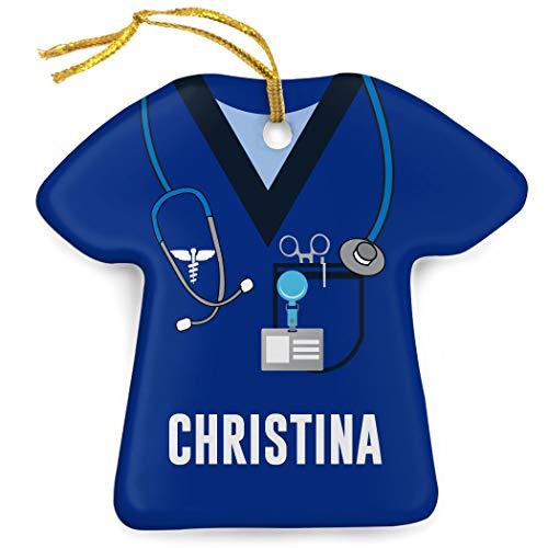 ChalkTalkSPORTS Personalized Profession Ornament | Medical Services | Nurse Scrubs | Navy ()