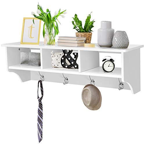 Giantex Hanging Shelf with Hooks Wall Mount Cubby Organizer with 4 Dual Hooks and Storage for Entryway, Hallway, Diningroom Furniture (White) (Shelf White Wall With Hooks)
