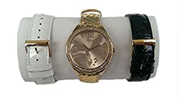 Guess W0352L2 Gold Tone Dial Multi-Function 3 Piece Interchangeable Band Box Set Watch