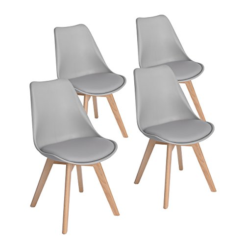 Set Of 4 Modern Eames Style Side Dining Chairs With Soft