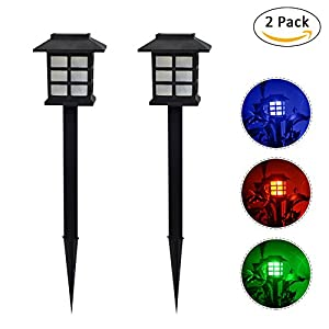 2PCS/Set Solar Lawn Lamp Light,Greencolorful LED Palace Decorative Light,Small Room Type Peg Spike Light Lantern for Outdoor Path Patio Yard Deck Driveway and Garden(Colorful light)
