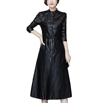 DISSA P8108 Women Faux Leather Long Overcoat Slim Coat Leather Jacket,Black,M,UK 10