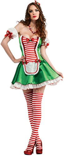 Secret Wishes Christmas Collection Peppermint Cutie Costume, Green/Red/White, Small