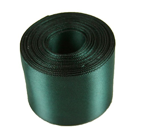 5 Yards Rolled up 1-1/2 SINGLE FACE SATIN Ribbon 100% Polyester Choose Color (589 - HUNTER GREEN)
