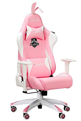 AutoFull Pink Ergonomic Gaming Chair Cute Kawaii PU Leather High Back Racing Office Desk Chairs with Rabbit Ears