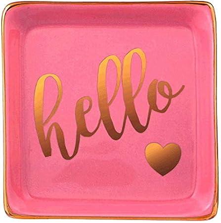 Stephanie Imports Hello Ceramic Trinket Plate and Decorative Jewelry Dish