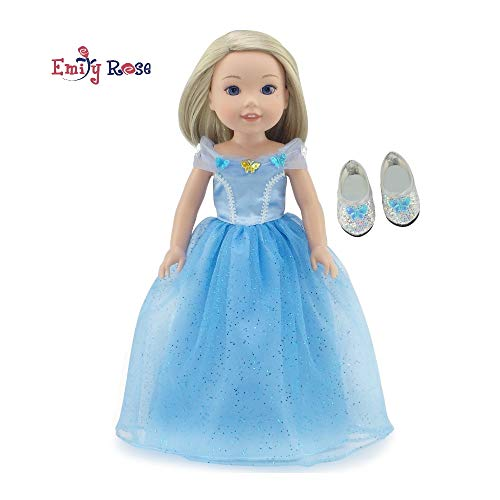 Emily Rose 14 Inch Doll Clothes for Wellie Wishers | Princess Cinderella-Inspired Doll Dress Ball Gown and Sparkly Glass Slippers | Doll Clothes for 14