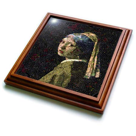 3dRose Taiche - Digital Art - Vegetable Decoupage - Girl With A Strawberry Earring - 8x8 Trivet with 6x6 ceramic tile (trv_305950_1) ()