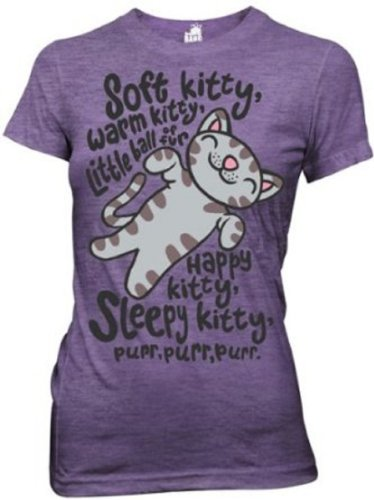 Big Bang Theory Soft Kitty Junior T-Shirt Tee Heathered Purple (Medium)