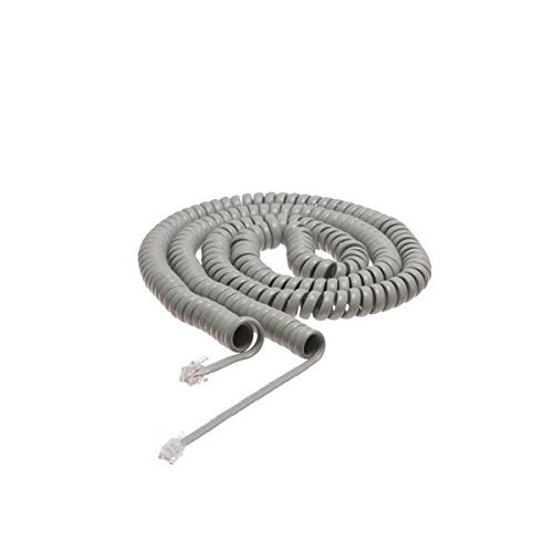 20FT US General Light Gray Phone Handset Curly Cord Cable, Universally Compatible 20 Feet (6M) Cable 4P4C 4in Lead