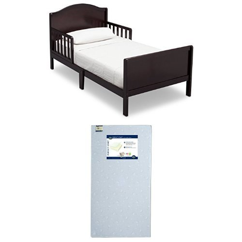 Delta Children Bennett Toddler Bed, Dark Chocolate with Serta Perfect Start Crib and Toddler Mattress by Serta