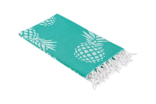Pineapple Print Turkish Towel in an Extra Large Size, Thin Peshtemal Beach Towel or Bath Towel in Mint - Print Large Pineapple