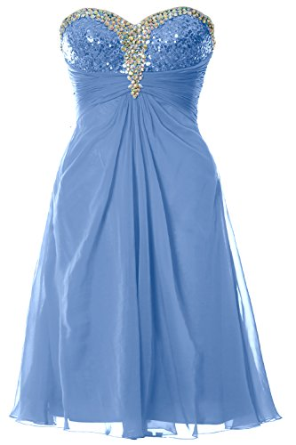 MACloth Women Strapless Sweetheart Crystal Short Prom Dress Formal Party Gown Cielo azul