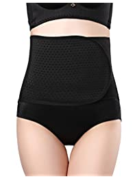 Women's Waist Trimmer Belt Tummy Control Waist Cincher Breathable Shaper Adjustable Slimmer for Postpartum Black