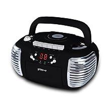 Groov-e Retro Boombox Portable CD Player with Cassette & Radio - Black