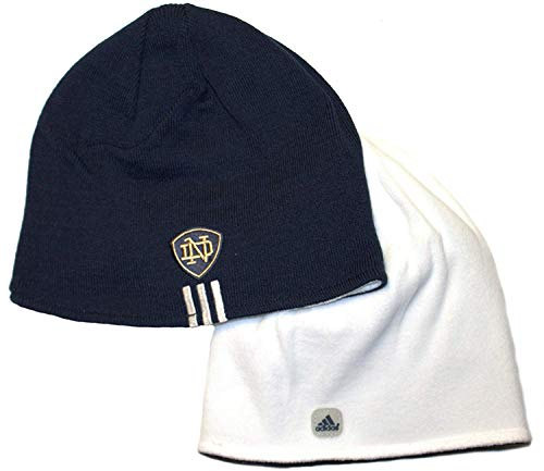 NCAA Officially Licensed Notre Dame Fighting Irish White Fleece / Navy Reversible Knit Cuffless Beanie Hat