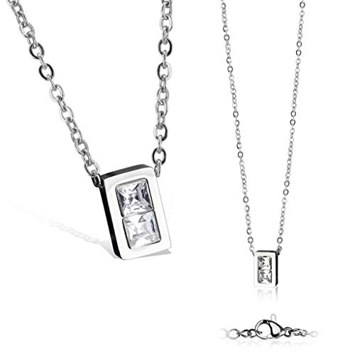 Square CZ Stainless Steel Pendant with Chain Necklace