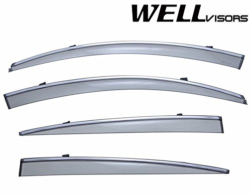 WellVisors Side Window Wind Deflector Visors - Made for and Compatible with Lexus GS300 GS350 GS430 GS450h GS460 2006 2007 2008 2009 2010 2011 with Chrome Trim