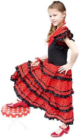 La Senorita Vestido Flamenco Sevillana Español Traje de Flamenca Chica/niños Negro Rojo: Amazon.es: Juguetes y juegos