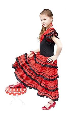 La Senorita Vestido Flamenco Sevillana Español Traje de Flamenca chica/niños negro rojo