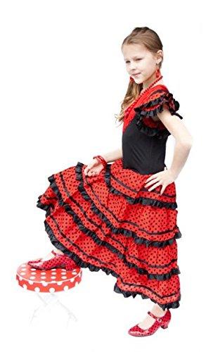 La Senorita Vestido Flamenco Sevillana Español Traje de Flamenca chica/niños negro rojo: Amazon.es: Bebé