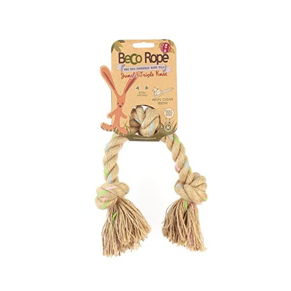 Beco Rope – Natural Hemp Strong and Durable Tug Rope Toy for Dogs – M – Triple Knot
