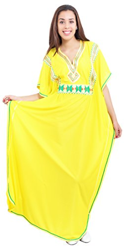 Moroccan-Caftans-Women-Breathable-Handmade-with-Embroidery-Coverup-Loungewear-Ethnic-Design-Yellow