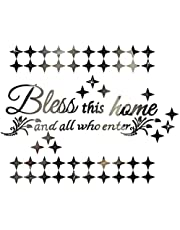 Bless This Home Quote Inspirational Mirror Wall Stickers, 50Pcs Stars Art Mirror Stickers for House Decoration for Living Room Bedroom