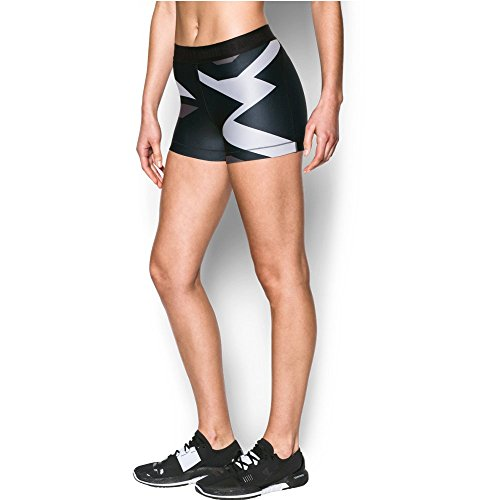 "Under Armour Women's HeatGear Armour 3"" - Engineered, Black (001)/Metallic Silver, X-Small"