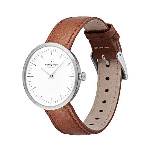 Nordgreen Unisex Infinity Scandinavian Silver Analog Watch 40mm (Large) with Brown Leather...