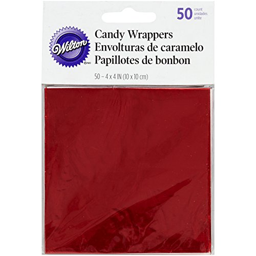 Wrapping Foil - Wilton 1904-1198 Foil Wrappers, 4-Inch by 4-Inch, Red, 50-Pack