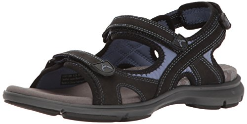 Aravon Women's Revsandal Three Strap Flat Sandal, Black, 8 D US