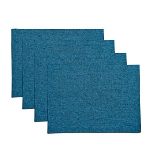 Solino Home Pure Linen Placemats - Chambray Teal, 14 x 19 Inch Set of 4 Athena - 100% Pure Linen Natural Fabric - Handcrafted Machine Washable (Teal Table Cloth Linen)