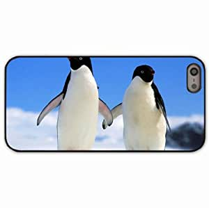 iPhone 5 5S Black Hardshell Case penguins couple winter Desin Images Protector Back Cover