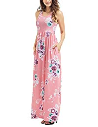 Assivia Women's Floral Print Sleeveless Pockets Tunic Long Maxi Casual Dress