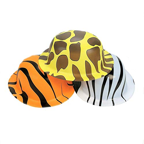 Fun Express Animal Print Safari Hats (24 Count) | Measures 10 Inches | Great Birthday Party - Plastic Safari Hat