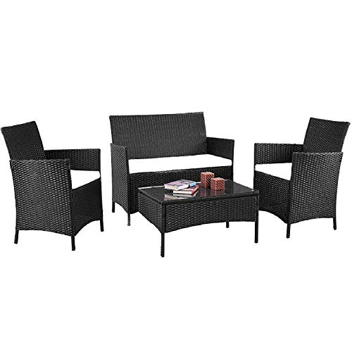 mecor 4 Piece Outdoor Furniture Set,Rattan Wicker Patio Furniture Cushioned Sofa &Glass Coffee Table, Garden,Backyard,Lawn Black